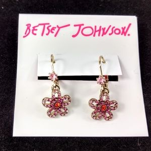 NWT Betsey Johnson Flower Drop Leverback Earrings